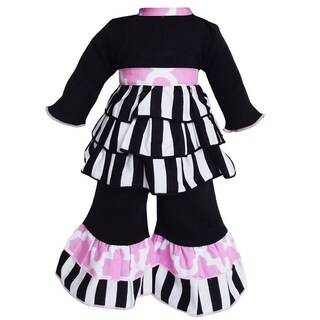 AnnLoren Black & White Stripe Rumba Doll Outfit