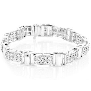 Sterling Silver 3/5ct TDW White Diamond Link Bracelet (H-I, SI1-SI2)