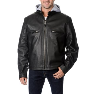 First Classics Men's Leather Detachable Hood Motorcycle Jacket