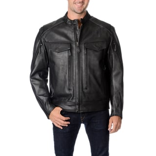 First Classics Men's Leather Multi-pocket Motorcycle Jacket