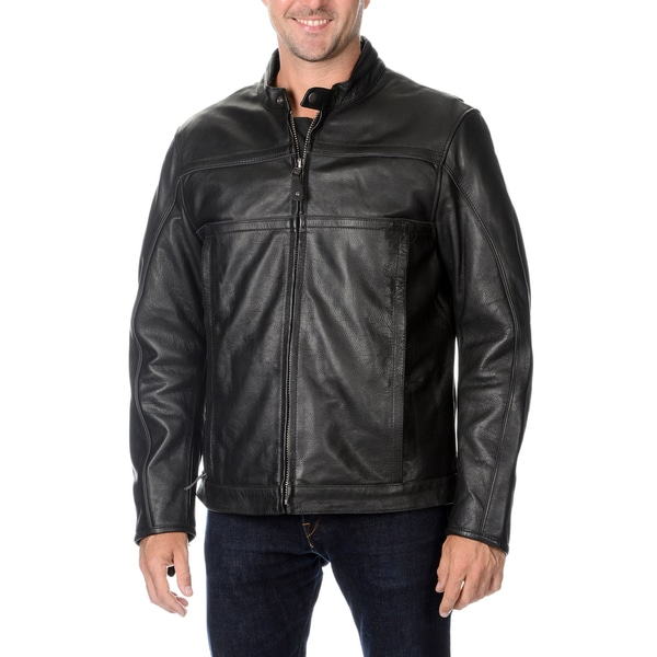 First Classics Men's Black Leather Motorcycle Jacket 14083521