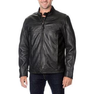 First Classics Men's Black Leather Motorcycle Jacket