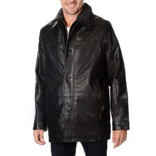 Whet Blu Men's Leather Jacket with Detachable Bib and Shearling Collar
