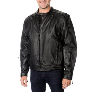 First Classics Men's Leather Motorcycle Jacket with Removable Lining