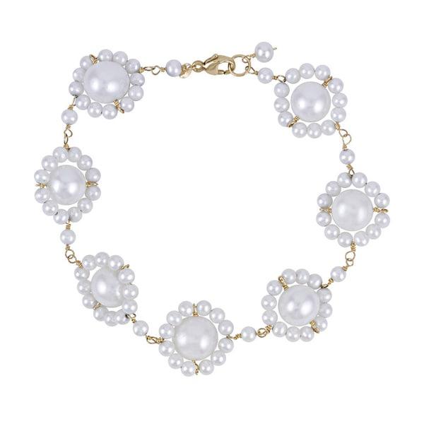 14k Yellow Gold White Freshwater Pearl Bracelet
