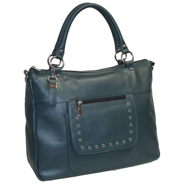 Buxton Leather Tote with Front Pocket Grommet Detail