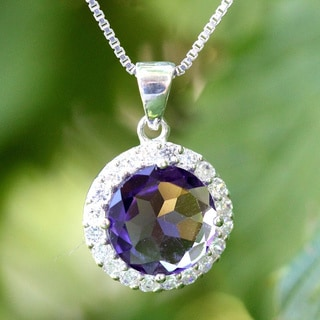 Sterling Silver Round Amethyst Necklace (Thailand)
