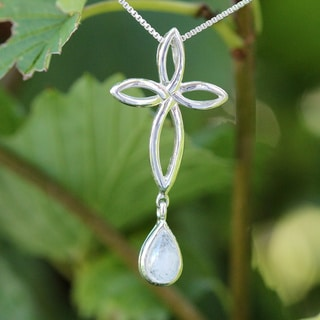 Sterling Silver Tear Drop Moonstone Cross Necklace (Thailand)