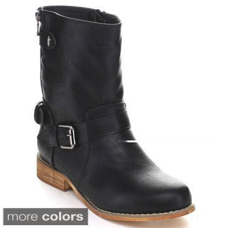 Miim Women's 'Randy-01' Faux Leather Mid-calf Combat Boots