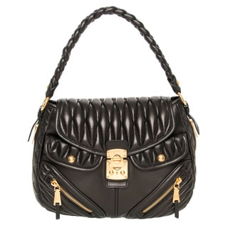 Miu Miu Matelassé Black Nappa Leather Hobo