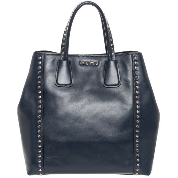 Miu Miu Navy Studded Leather Tote