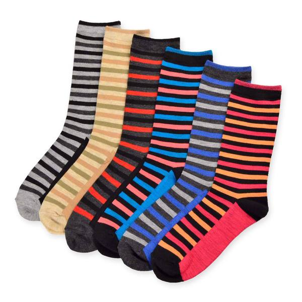 Women's Value 6-Pack Thin Stripe Crew Socks