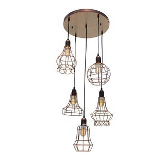 Suspended 5-light Industrial Retro Cage Pendant Chandelier