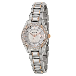 Bulova Women's 98R164 'Diamonds' Stainless Steel and Rose Goldplated Quartz Watch