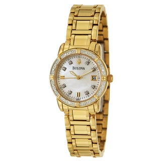 Bulova Women's 'Diamonds' Stainless Steel Yellow GoldPlated Quartz Watch