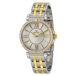 Bulova Women's 'Diamonds' Stainless Steel and Yellow GoldPlated Quartz Watch