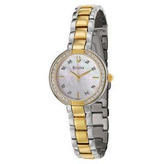 Bulova Women's 'Aracena' Stainless Steel and Yellow GoldPlated Quartz Watch