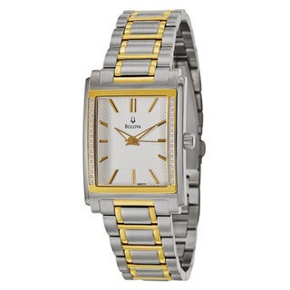 Bulova Men's 'Diamonds' Two-tone Stainless Steel Watch