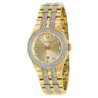 Bulova Women's 98M114 'Crystal' Yellow Goldplated Stainless Steel Quartz Watch