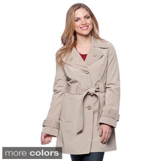 London Fog Missy Single-breasted Double Collar Raincoat