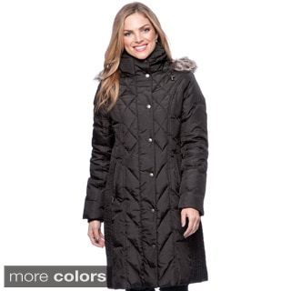 London Fog Quilted Down Pantcoat with Detachable Faux Fur Trim Hood