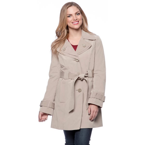 London Fog Women's Petite Single-breasted Double Collar Raincoat