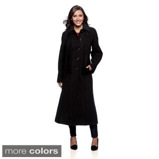 London Fog Women's Full-length Wool Coat with Scarf