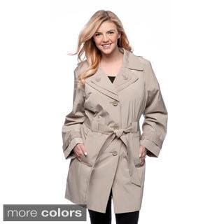 London Fog Women's Plus Size Single-breasted Double Collar Raincoat