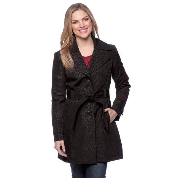 London Fog Women's Black Leopard Trench Coat