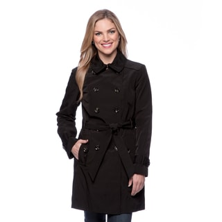 London Fog Women's Double-breasted Leopard Lining Coat