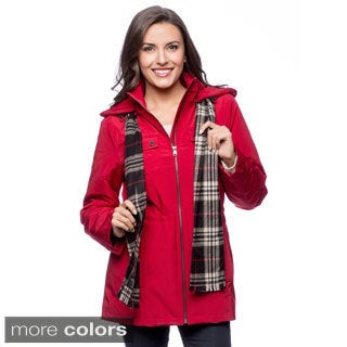 London Fog Women's Petite Anorak Coat with Scarf