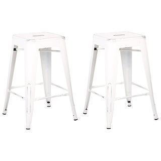 White Backless Barstool - 24-inch