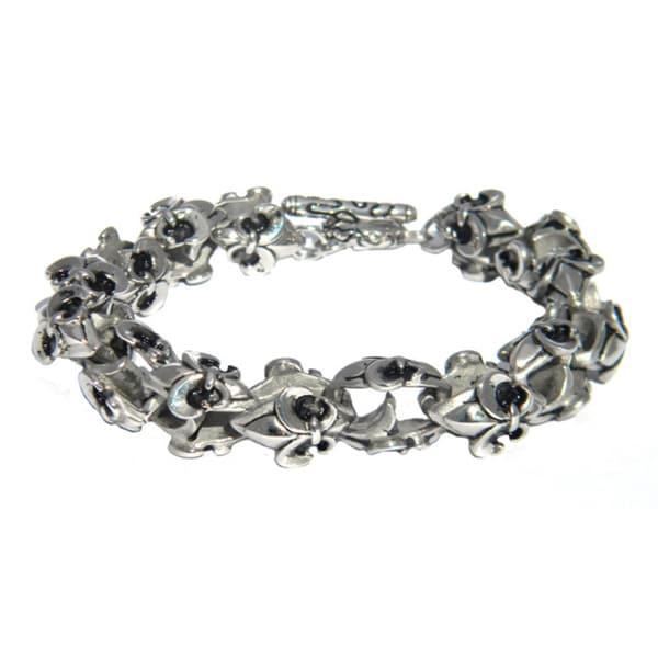 Stainless Steel Fleur-de-Lis Antiqued Bracelet
