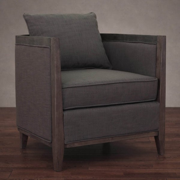 Elliot Smoke Linen Lounge Chair - Grey