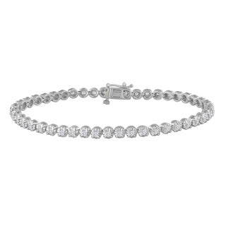 Sterling Silver 1ct TDW Prong-set Whiet Diamond Tennis Bracelet (H-I, I2-I3)