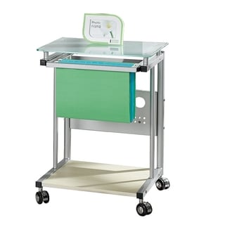 Merax Computer Utility Cart with Hanging File Folder Rack, Frosted Glass Top with Silver Colored Frame