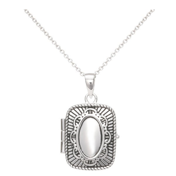 Blue Box Jewels Oxidized Open Rectangle Pendant Necklace