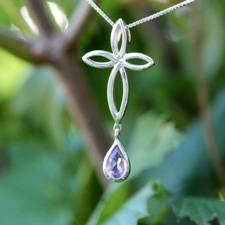 Sterling Silver Tear Drop Amethyst Cross Necklace (Thailand)