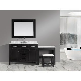 Design Element London Single Sink Vanity Set in Espresso with Make-up Table