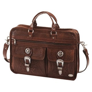 American West Leather Mahogany Briefcase