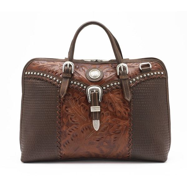 American West Antique Brown Leather Briefcase