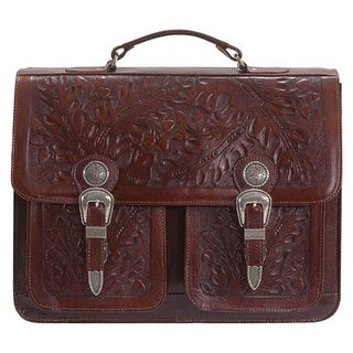 American West Mahogany Two Compartment Briefcase