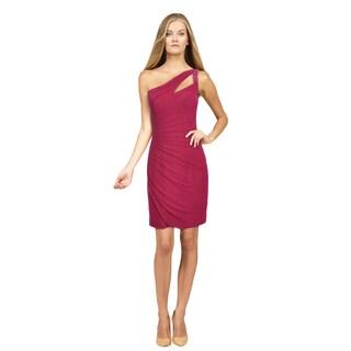 La Femme Women's Magenta Single-shoulder Mini Dress