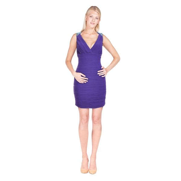 La Femme Women's Purple V-neck Beaded Shoulder Dress