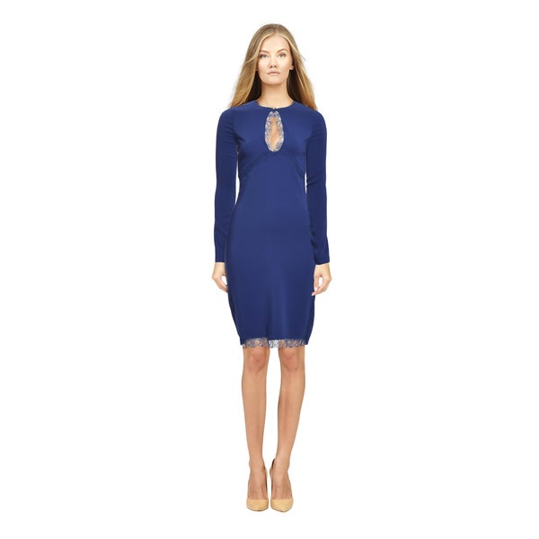 Roberto Cavalli Sapphire Lace Trim Keyhole Fitted Jersey Cocktail Dress