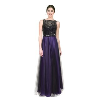 Theia Women's Black and Purple Beaded Bodice Tulle Organza Evening Dress