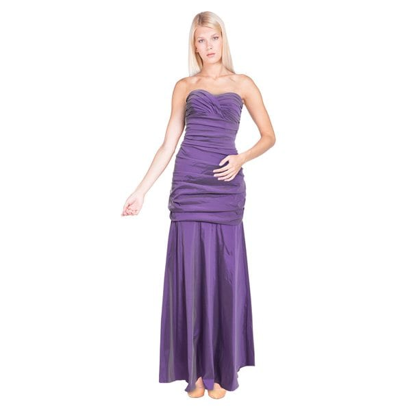 Theia Strapless Sweetheart Ruched Bodice Stretch Tafetta Formal Evening Dress