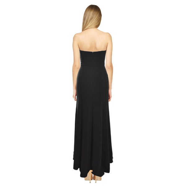 Theia Women's Black Strapless Embroidered A-line Gown