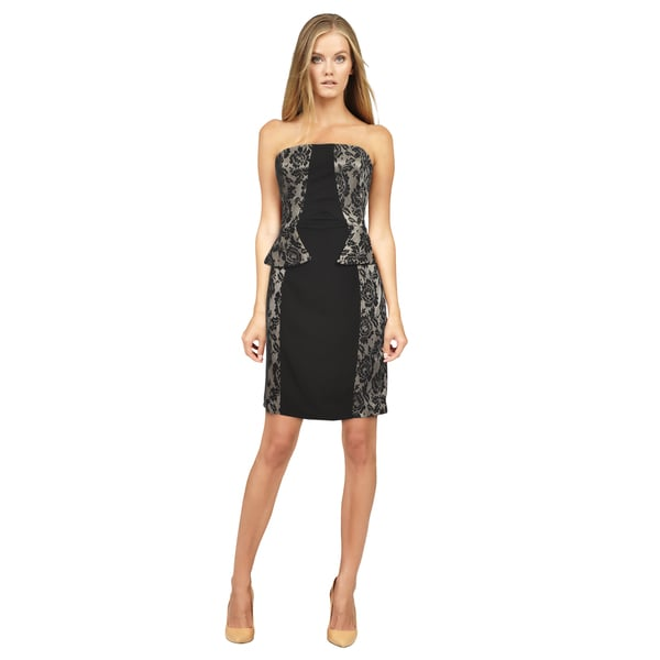 Mark & James Women's 'Badgley Mischka' Black and Lace Peplum Dress