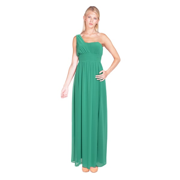 Laundry by Shelli Segal Loosely Pleated One Shoulder Sweetheart Gown Dress